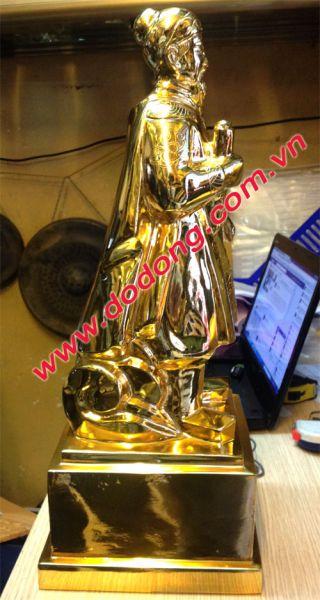 Tượng đồng trần hưng đạo đồng đỏ cao 50cm mạ vàng 24k