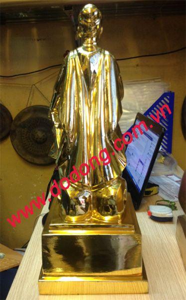 Tượng đức trần hưng đọa đúc đồng khảm vàng cao cấp dùng làm quà biếu tặng,phong thủy