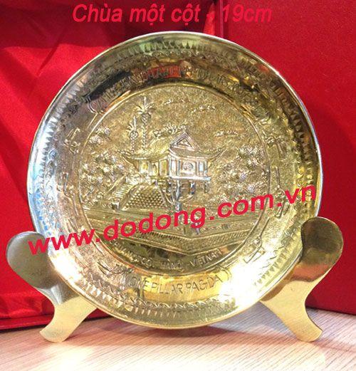 Đĩa chạm đồng đường kính 19cm đồng vàng, hộp đựng lót lụa