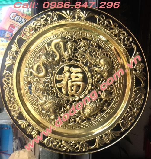 Mâm đồng tứ linh,.chữ phúc ở giữa dk 50cm,đồng vàng