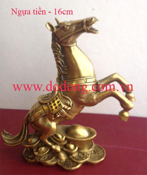 Ngựa đồng đứng thỏi vàng phong thủy - cao 16cm đúc nguyên khối