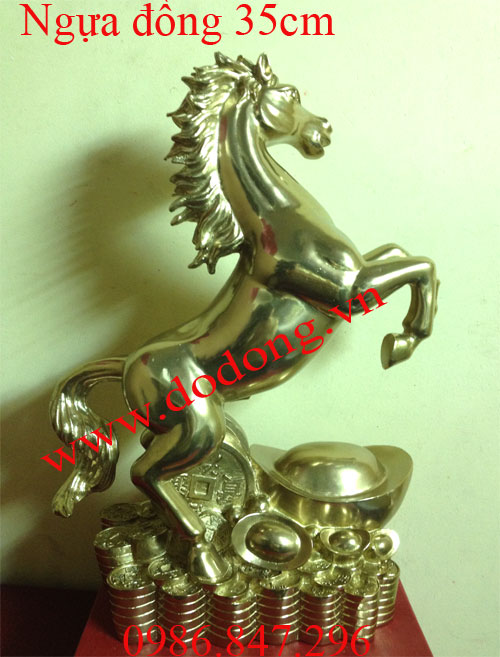 Ngựa đồng đứng thỏi vàng cao 35cm - quà tặng trang trí phong thủy