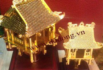 Mô hình chùa một cột đúc đồng mạ vàng – đồ đồng quà tặng
