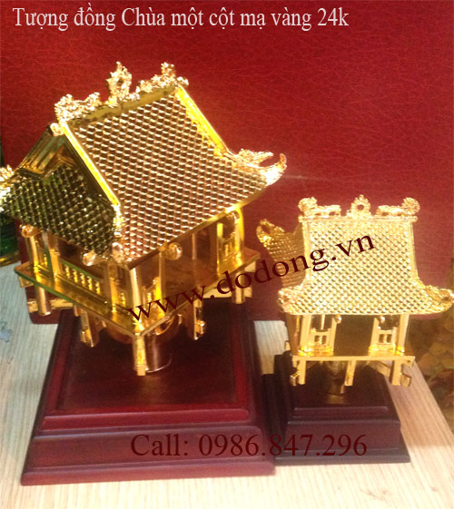 Qùa tặng mô hình chùa một cột mạ vàng - quà tặng cho khách quốc tê