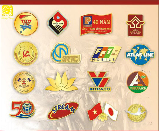 Huy hiệu đồng,thẻ tên mạ vàng,logo cài áo