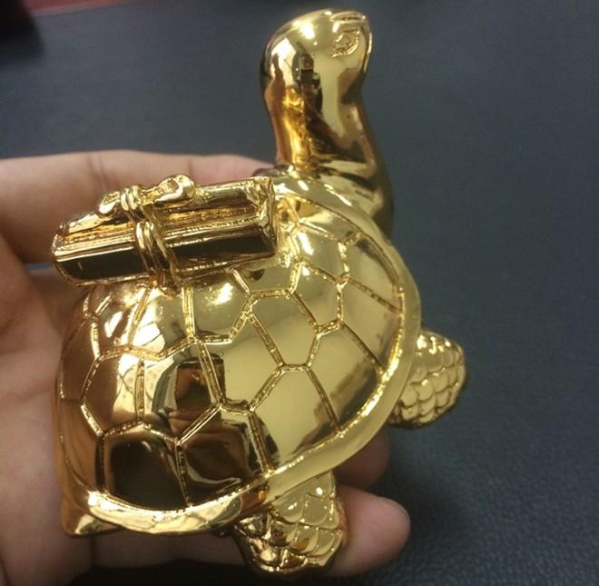 Tượng rùa để bàn học ý nghĩa 3,6,9cm đúc đồng đặc,mạ vàng