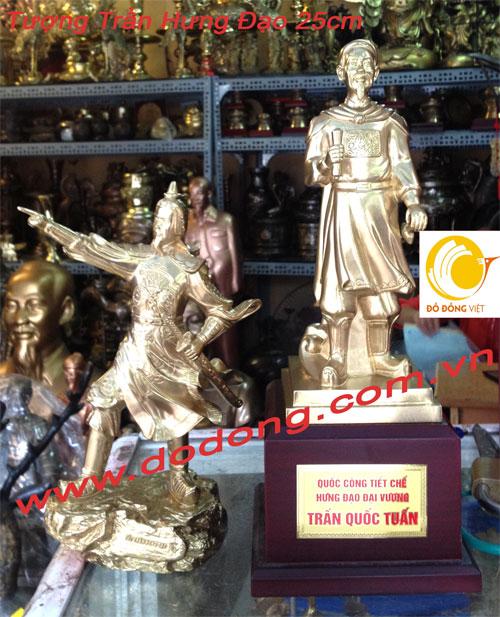 Qùa tặng để bàn trần hưng đạo đồng vàng đúc nguyên khối 25cm