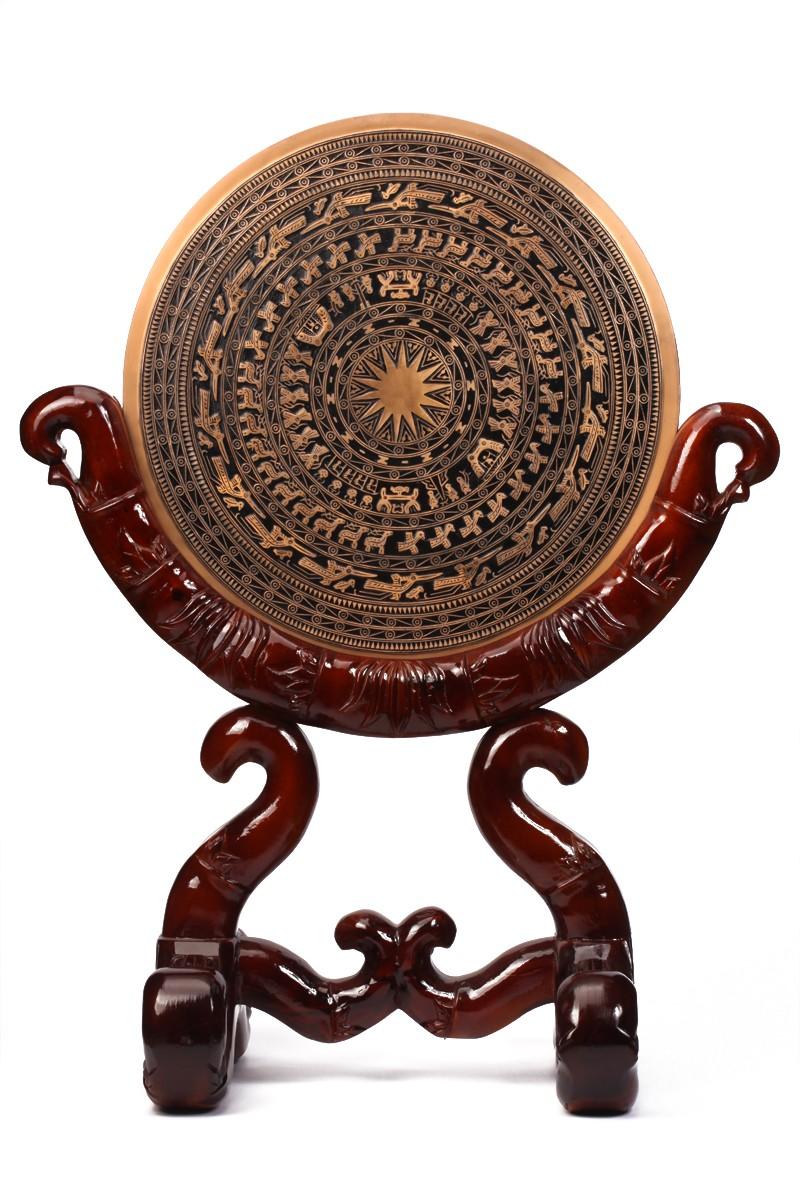 Bộ trống đồng đúc lưu niệm dk 60cm,giá gỗ
