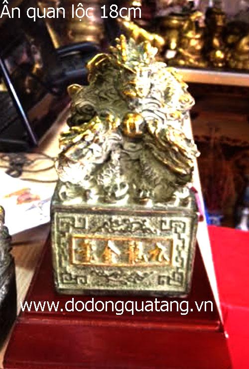 Ấn quan lộc đồng giả cổ 18cm – quà tặng sếp – đồ đồng0