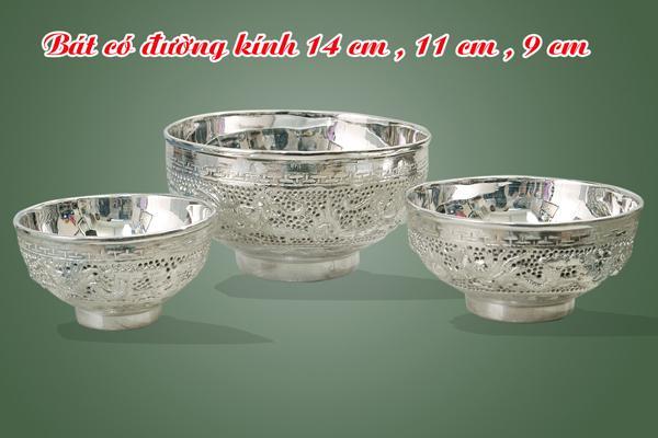 Bát ăn bằng bạc dk 12,13,14,15cm chạm bạc 9999