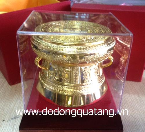 Bộ trống đồng đúc lưu niệm thu nhỏ mạ vàng - quà tặng mang đi đối ngoại