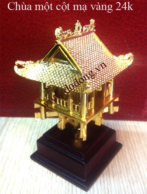 Mô hình chùa một cột thu nhỏ mạ vàng 24k cao cấp làm quà tặng đối ngoại sang trọng cao 13cm và cao 21cm