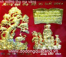 Tranh đồng quà tặng mừng thọ mạ vàng – mừng thọ