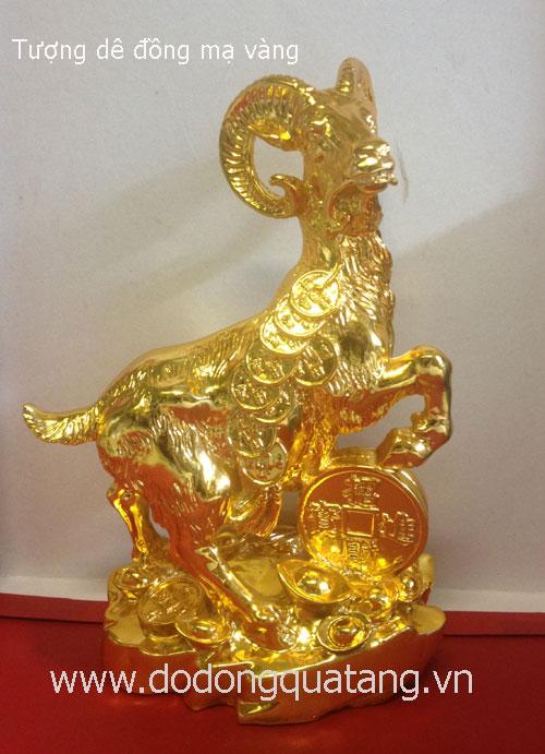 Tượng dê đồng nguyên khối mạ vàng cao cấp, kích thước cao 25cm