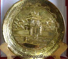 Đĩa đồng chạm hình Khuê Văn Các dk 16cm – đĩa đồng