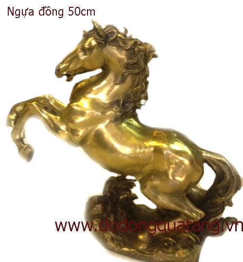 Tượng ngựa đồng vàng 50cm – mã đáo thành công0