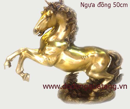 Tượng ngựa đồng mã đáo thành công cao 45cm đúc nguyên khối