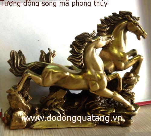 Tượng đồng đôi ngựa đúc nguyen khối dài 23cm cao 17cm