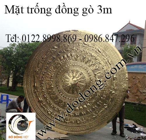 Mặt trống đồng gò dk 3m trang trí biệt thự
