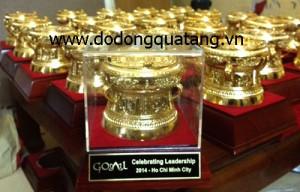 Sản xuất quà tặng trống đồng mạ vàng 8cm – đồ đồng