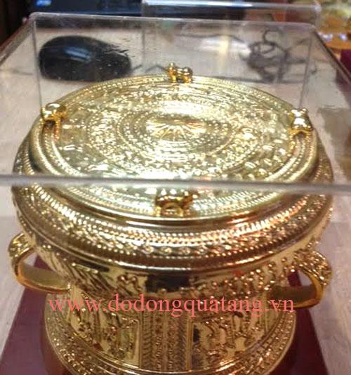 Bán trống đồng đúc lưu niệm mạ vàng -đồ đồng