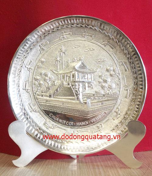 Đĩa đồng mạ bạc, đĩa quà tặng mạ bạc cao cấp – đĩa bạc0