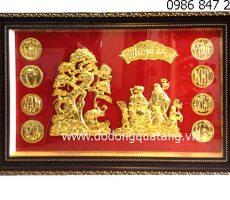 Tranh đồng mừng thọ 57x87cm mạ vàng – tranh đồng