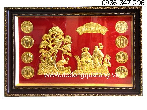 Tranh đồng mừng tho mạ vàng khung 57x87cm quà biếu ông bà nhân dịp sinh nhật,mừng thọ