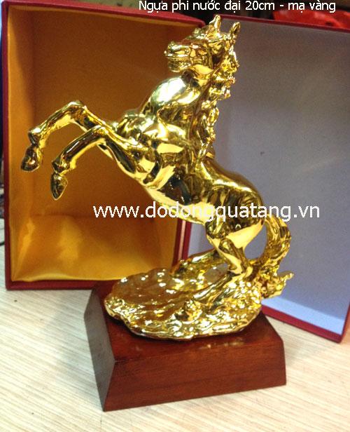 Tượng ngựa phi nước đại cao 20cm mạ vàng cao cấp