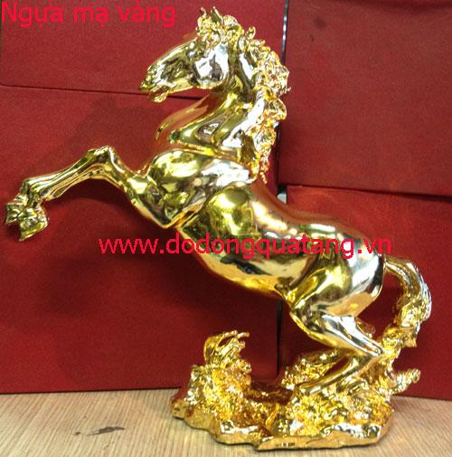 Ngựa đồng 28cm mạ vàng 24k