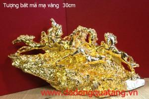 Tượng đồng bát mã mạ vàng 24k dài 30cm – mã đáo thành công