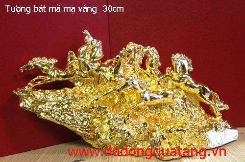 Tượng đồng bát mã đúc nguyên khối mạ vàng - dài 30cm,cao 19cm