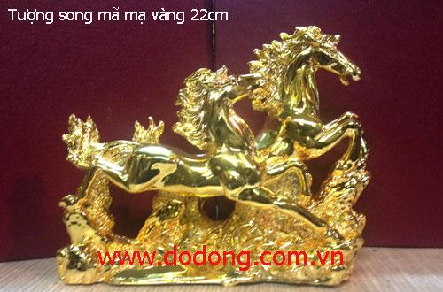 Hình ảnh đôi ngựa đồng mạ vàng cao 15cm dài 20cm đúc đồng