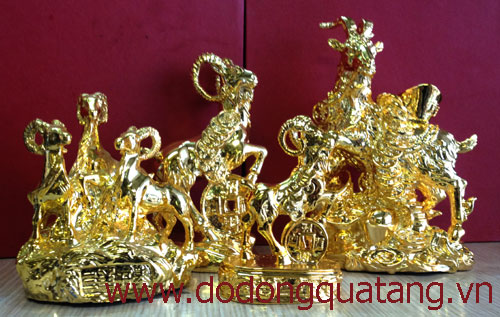 Các mẫu tượng dê đồng phong thủy mạ vàng năm 2015