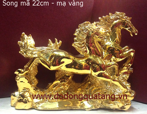 Tượng đồng song mã mạ vàng 20cm đúc nguyên khối