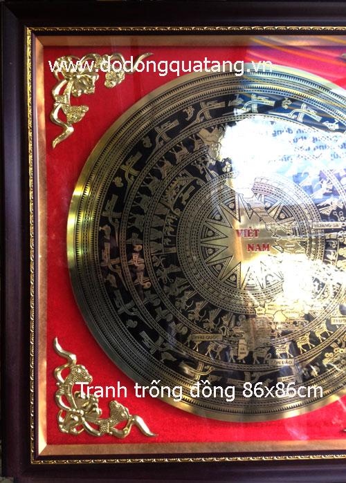 Tranh đồng khung 86x86cm mặt kính,4 góc đồng hoa văn