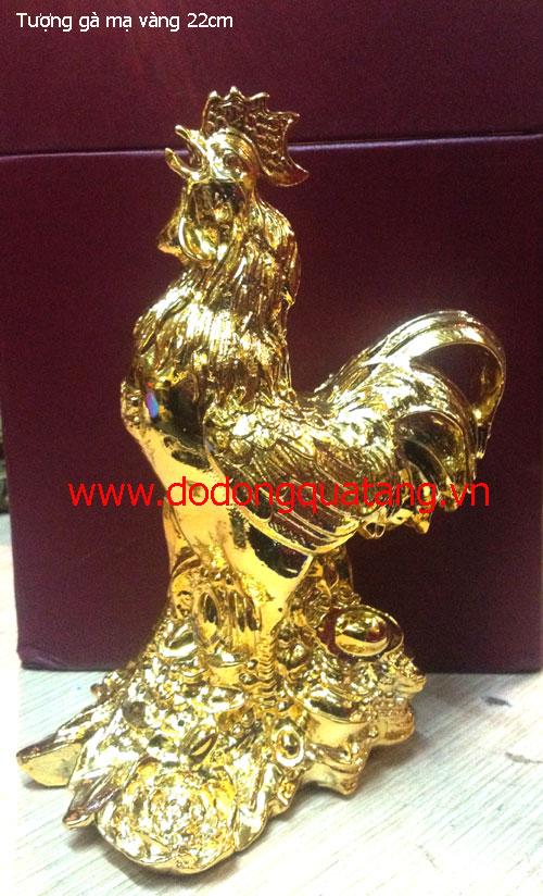 Tượng gà đồng mạ vàng 22cm – quà tặng phong thủy