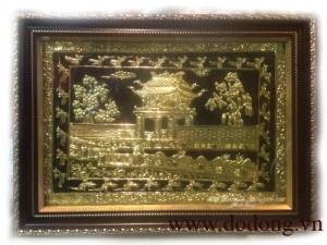 Tranh đồng hà nội – khuê văn các mạ vàng 60x80cm