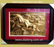 Tranh 2 ngựa,song mã mạ vàng,tranh ngựa mạ vàng 24k