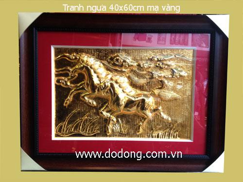 Tranh đồng song mã phong thủy mạ vàng, kt 40x60cm khung gỗ,mặt kính sang trọng