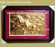 Tranh đồng song mã 40x60cm mạ vàng – tranh phong thủy