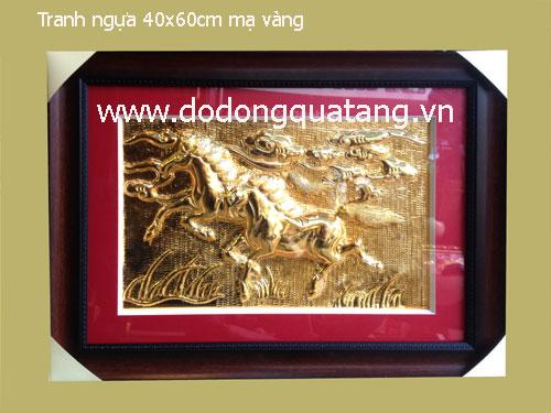 Qùa tặng tranh song mã mạ vàng cao cấp - quà tặng ý nghĩa