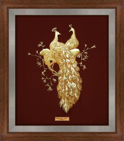Tranh đôi công bằng đồng mạ vàng sang trọng treo phòng ngủ