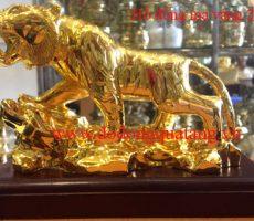 Tượng hổ đồng mạ vàng 22cm phong thủy – đồ đồng quà tặng