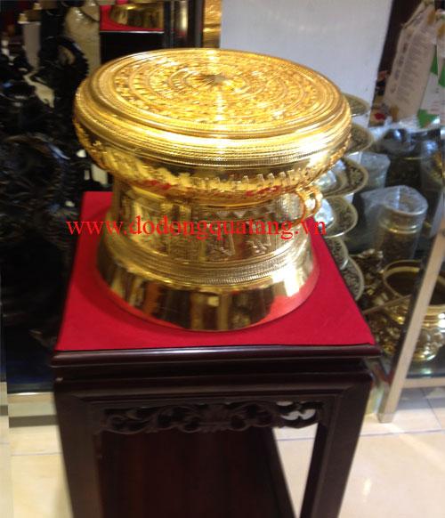 Qùa tết trống đồng mạ vàng dk 30cm – Đồ đồng quà tặng