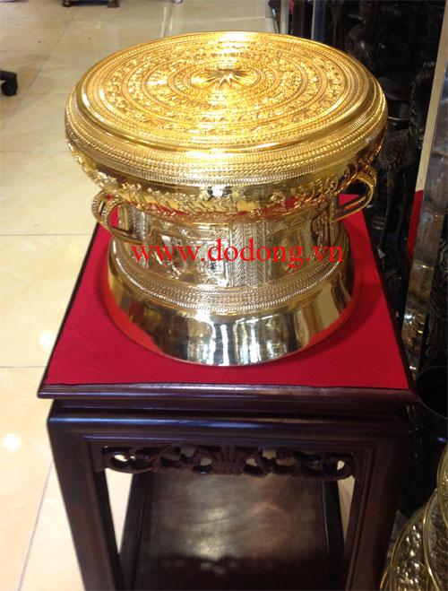 Bộ trống đồng đúc tinh xảo mạ vàng cao cấp trang trí,quà biếu sang trọng