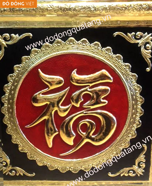 Tranh chữ khung đồng mạ vàng đẹp