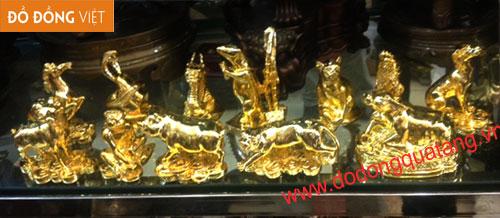 Bộ 12 con giáp đồng mạ vàng cỡ nhỏ – Đồ đồng mạ vàng0