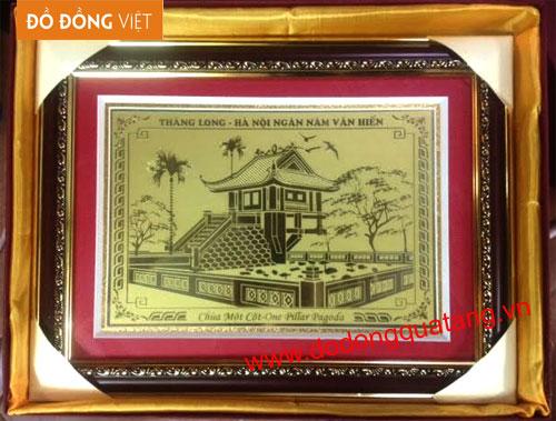 Tranh đồng khắc tinh xảo hình chùa một cột Hn