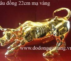Linh vật trâu đồng mạ vàng 22cm